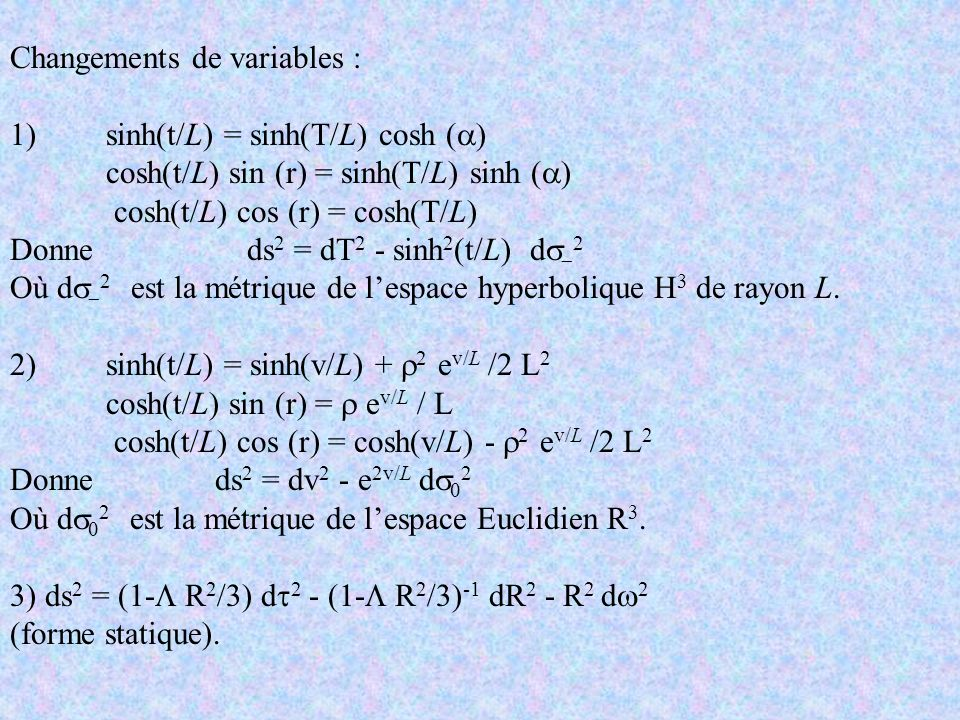 Changements de variables :