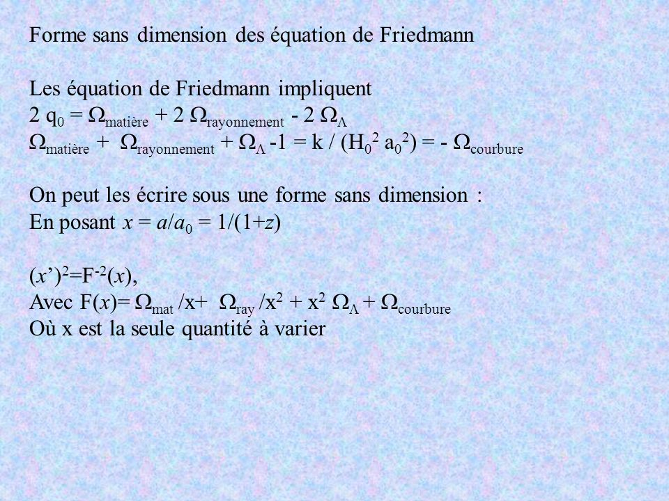 Forme sans dimension des équation de Friedmann