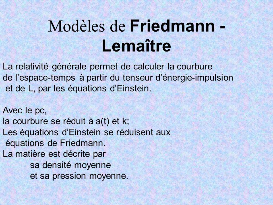 Modèles de Friedmann - Lemaître
