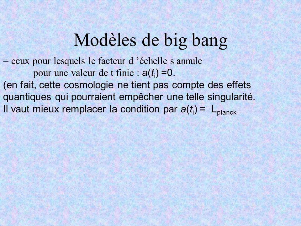 Modèles de big bang = ceux pour lesquels le facteur d 'échelle s annule. pour une valeur de t finie : a(ti) =0.