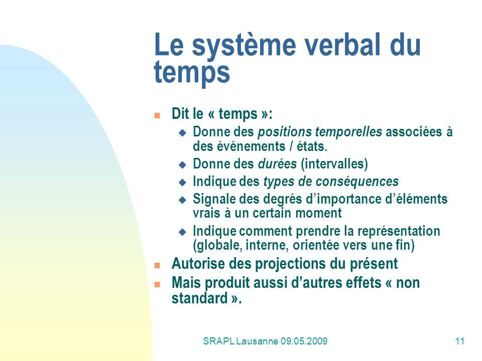 Le système verbal du temps