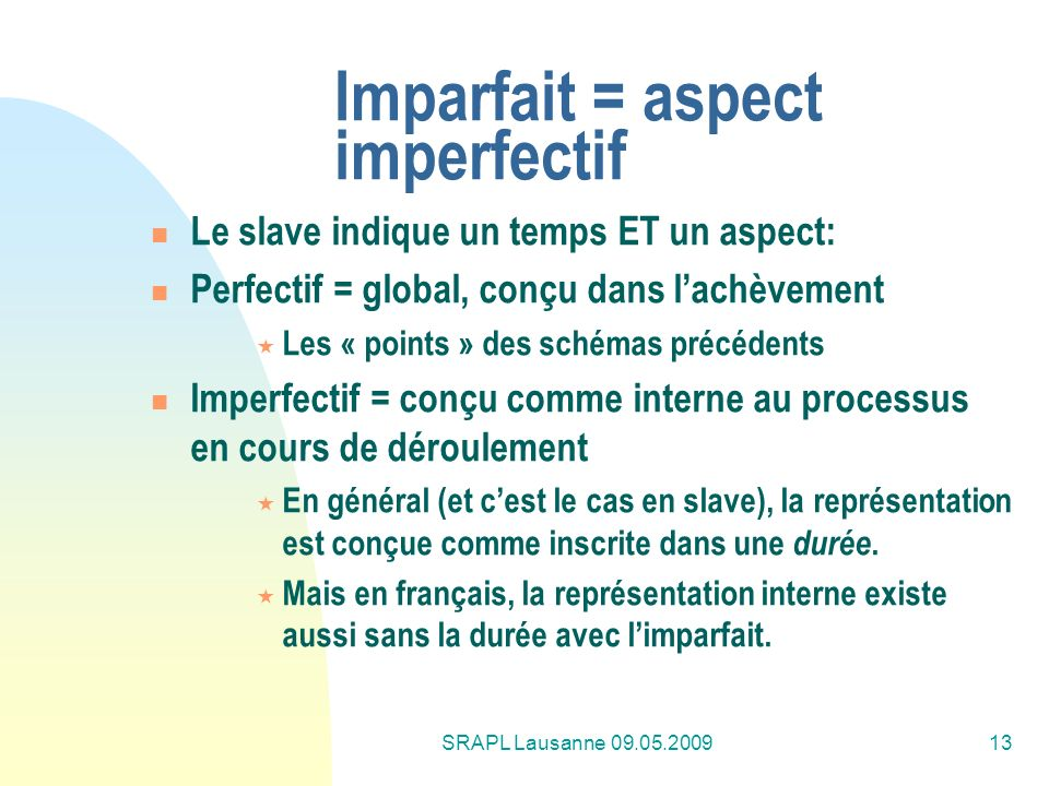 Imparfait = aspect imperfectif