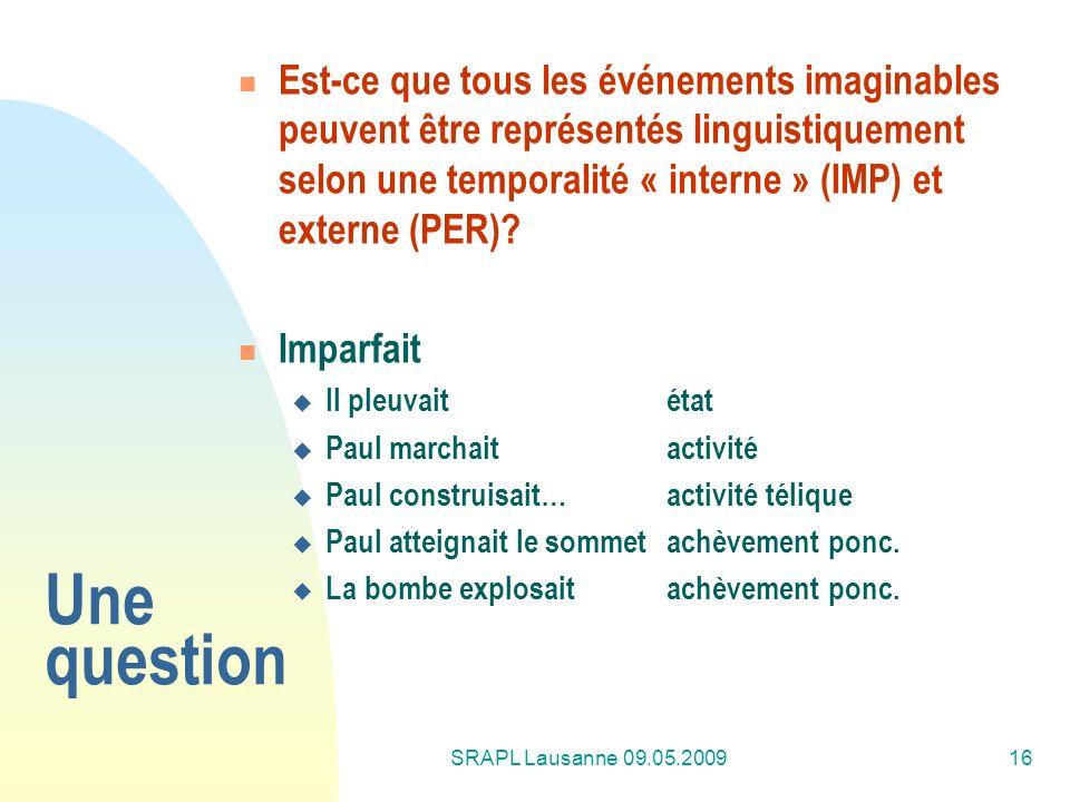 Est-ce que tous les événements imaginables peuvent être représentés linguistiquement selon une temporalité « interne » (IMP) et externe (PER)