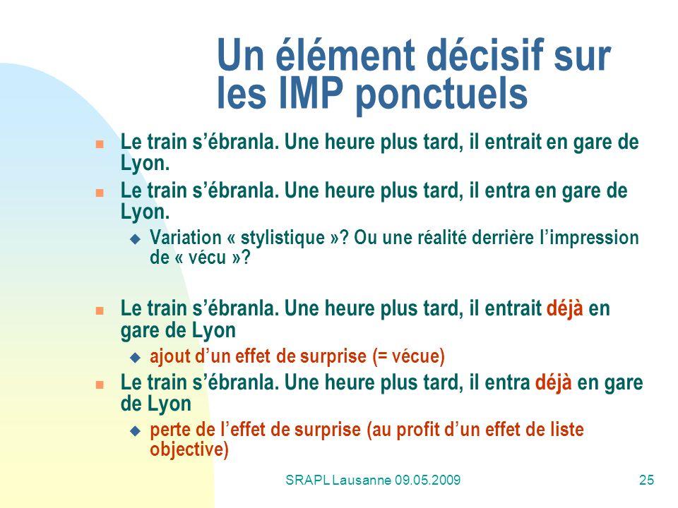 Un élément décisif sur les IMP ponctuels