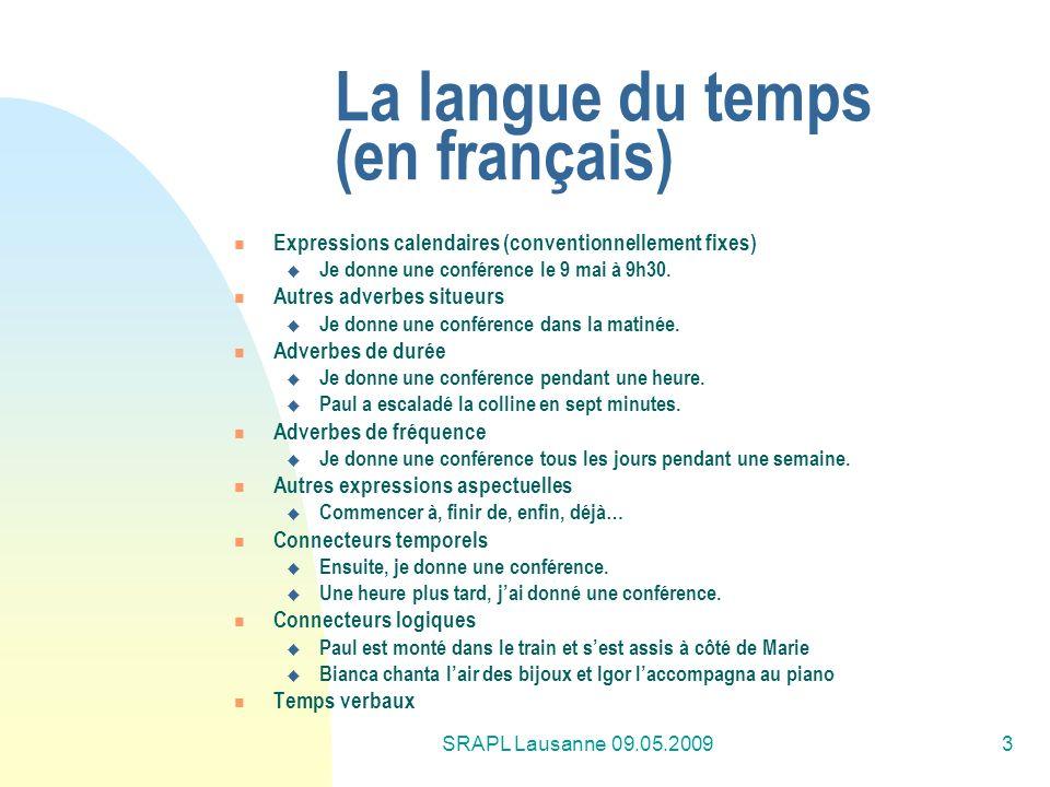 La langue du temps (en français)