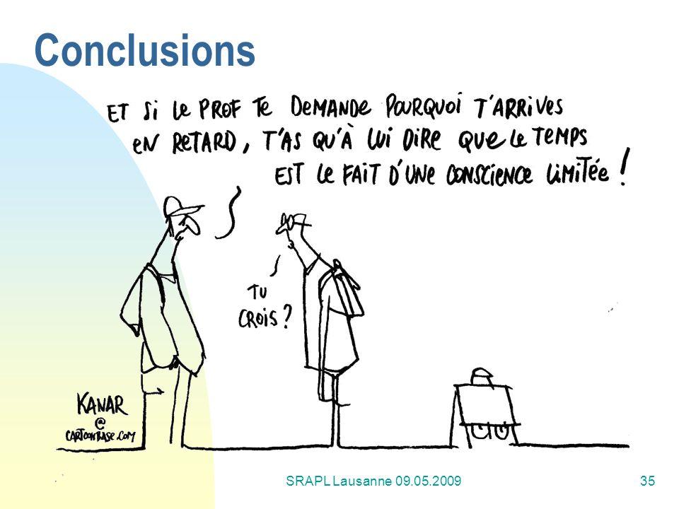 Conclusions SRAPL Lausanne 09.05.2009