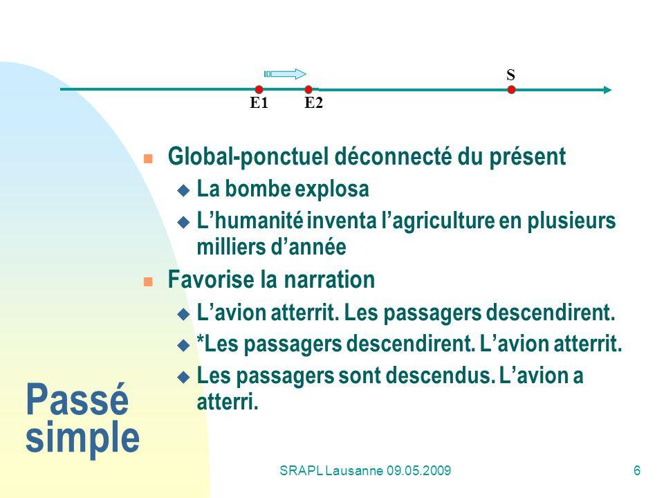 Passé simple Global-ponctuel déconnecté du présent