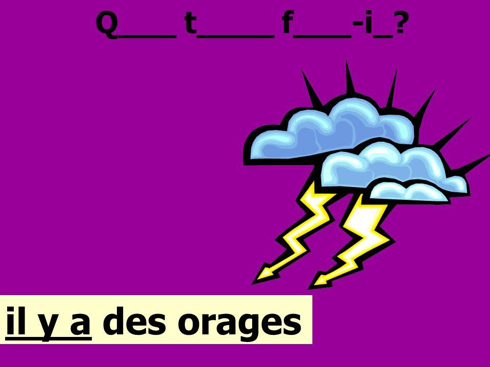 Q___ t____ f___-i_ il y a des orages