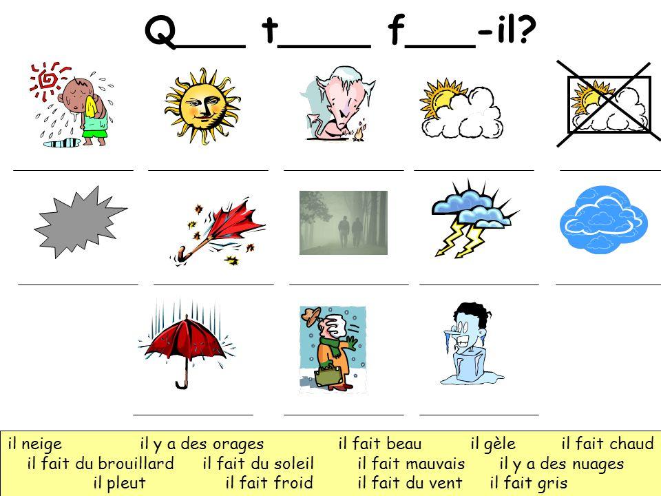 Q___ t____ f___-il il neige il y a des orages il fait beau il gèle il fait chaud.