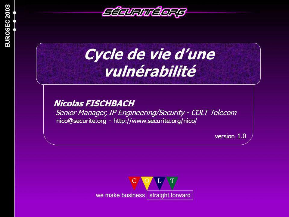 Cycle de vie d'une vulnérabilité