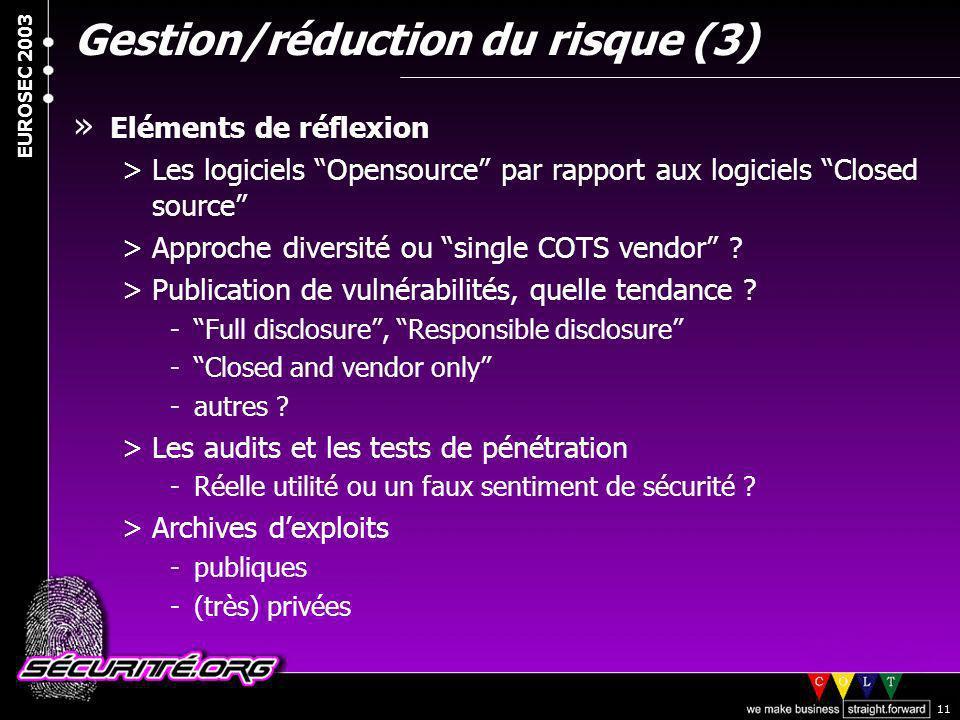 Gestion/réduction du risque (3)