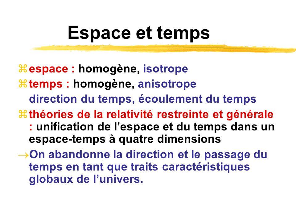 Espace et temps espace : homogène, isotrope