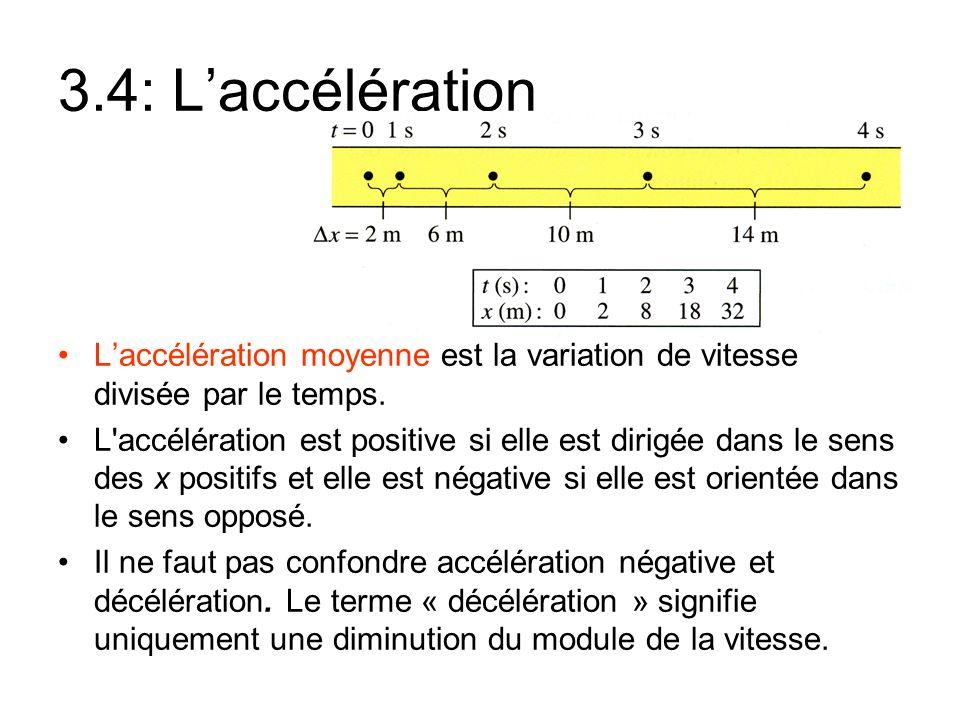 3.4: L'accélération L'accélération moyenne est la variation de vitesse divisée par le temps.