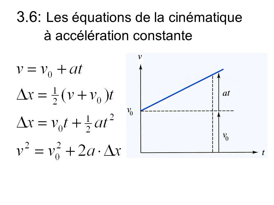 3.6: Les équations de la cinématique à accélération constante
