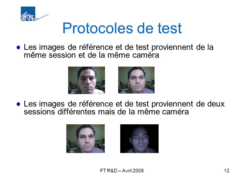 Protocoles de test Les images de référence et de test proviennent de la même session et de la même caméra.