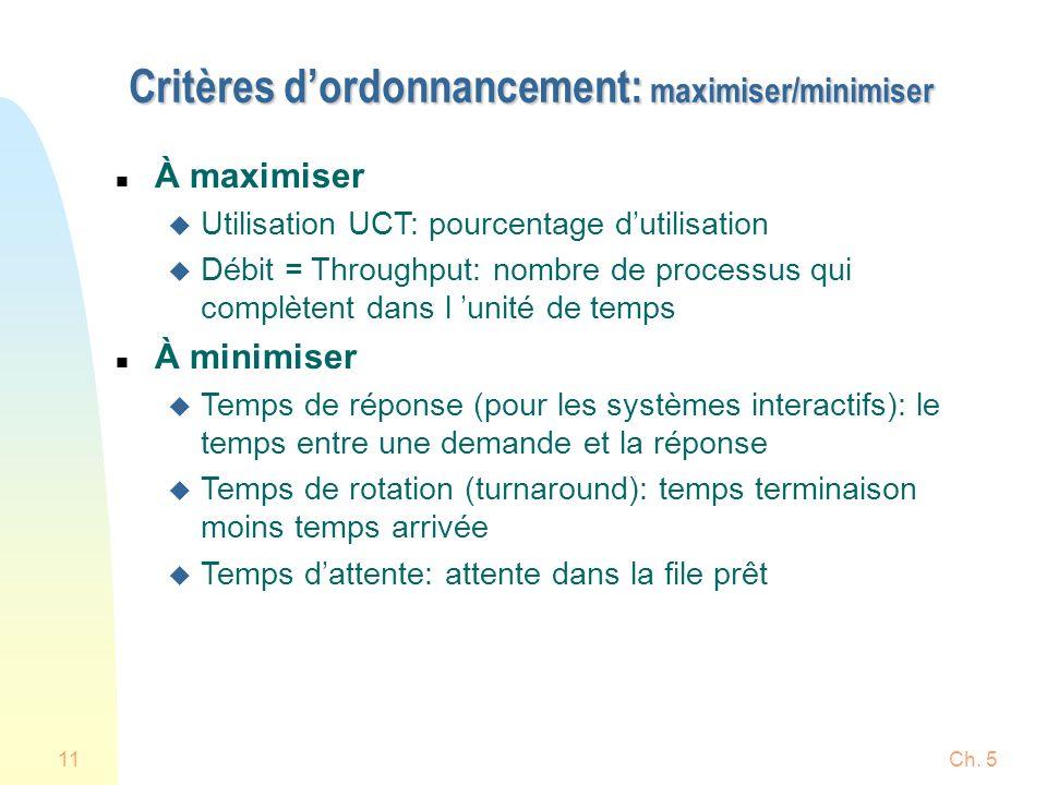 Critères d'ordonnancement: maximiser/minimiser
