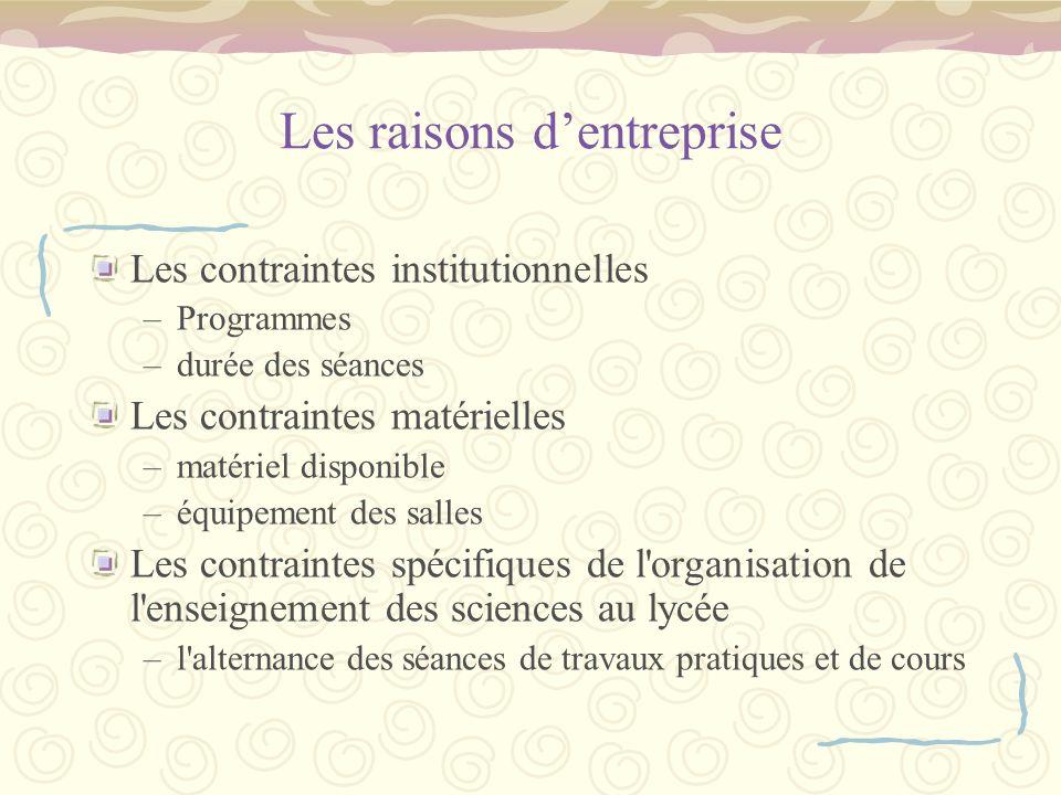 Les raisons d'entreprise