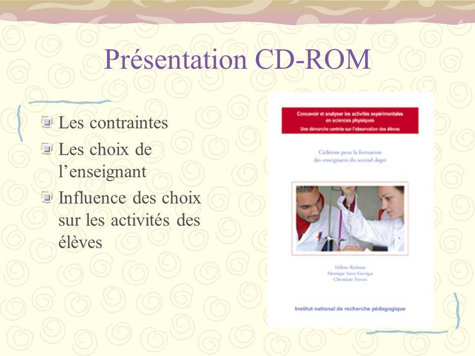 Présentation CD-ROM Les contraintes Les choix de l'enseignant