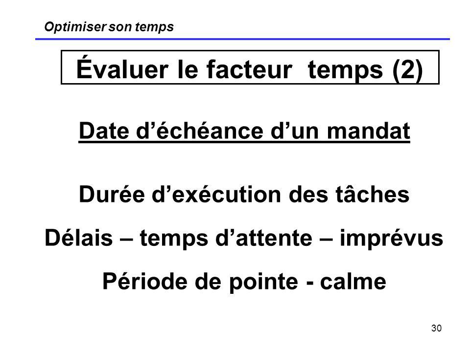 Évaluer le facteur temps (2)