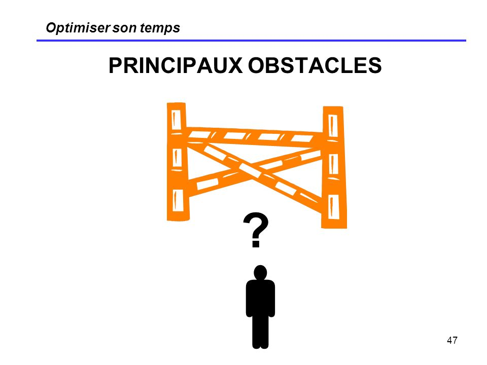 Optimiser son temps PRINCIPAUX OBSTACLES 