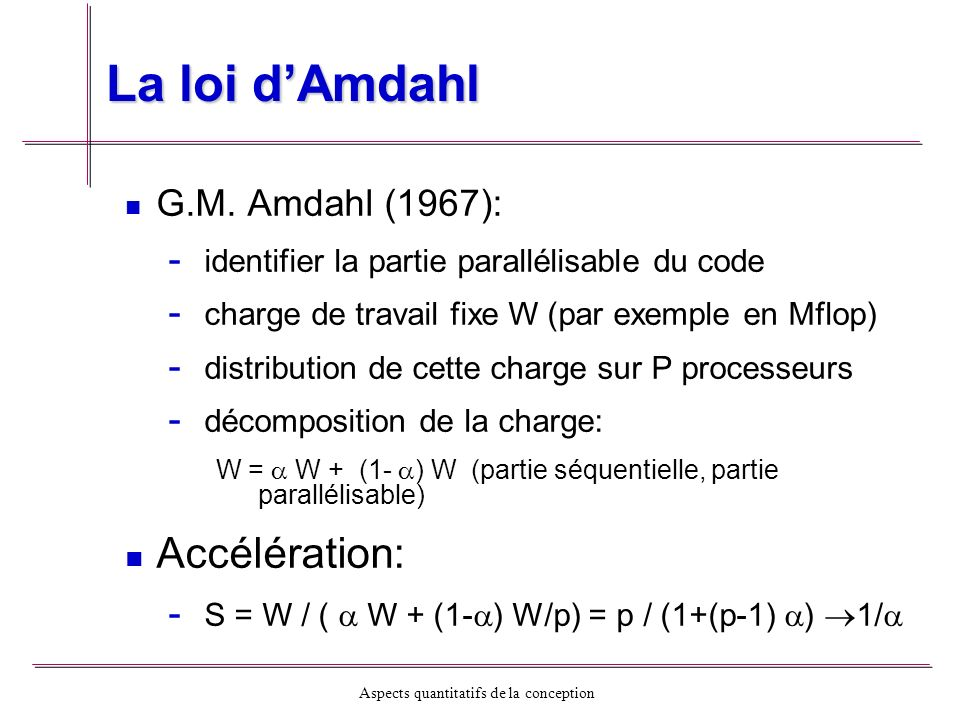 La loi d'Amdahl Accélération: G.M. Amdahl (1967):