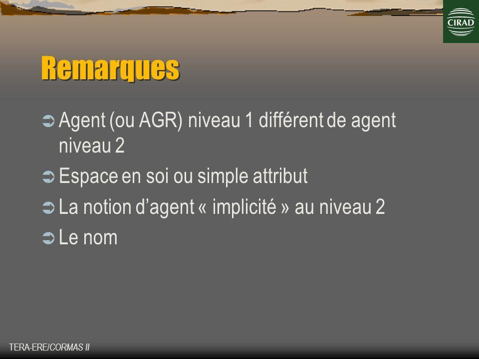 Remarques Agent (ou AGR) niveau 1 différent de agent niveau 2