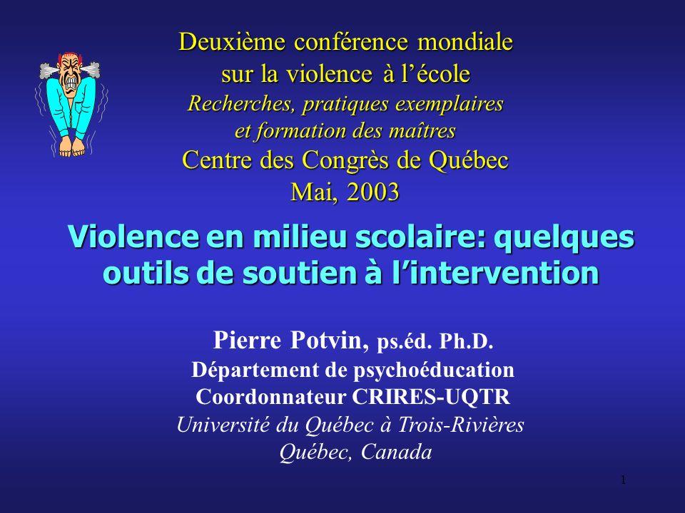 Département de psychoéducation Coordonnateur CRIRES-UQTR