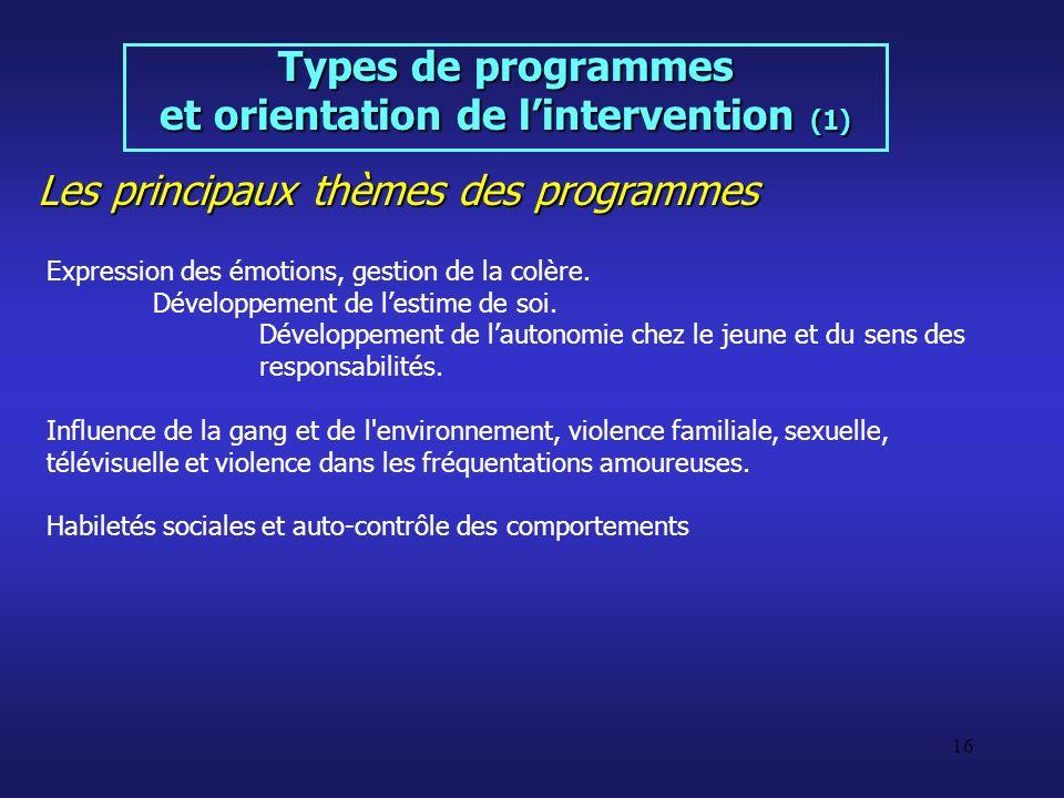 et orientation de l'intervention (1)