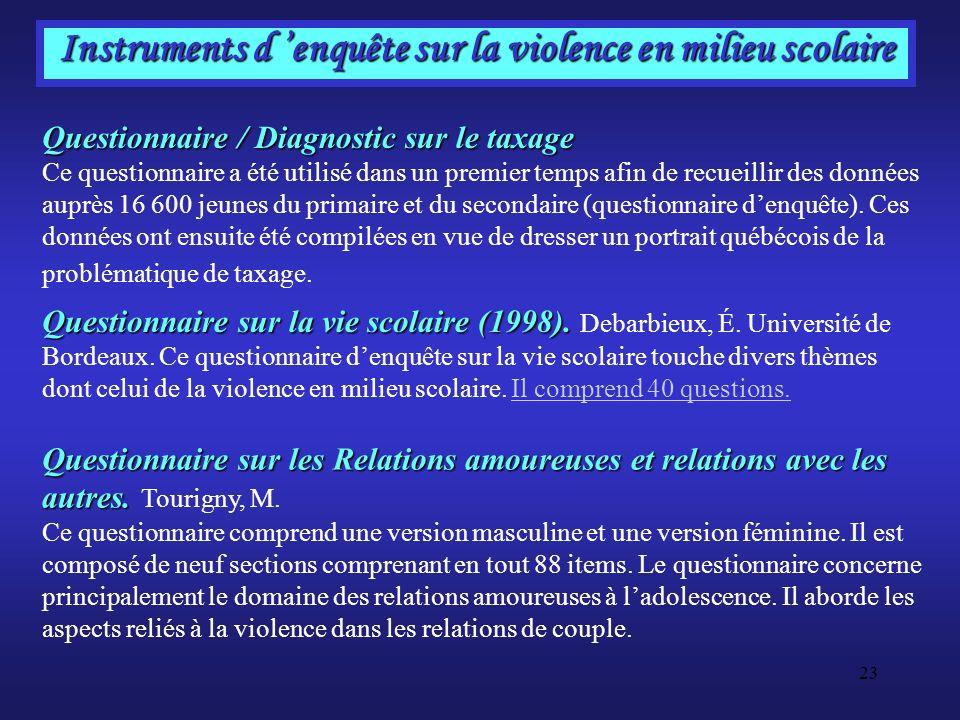 Instruments d 'enquête sur la violence en milieu scolaire