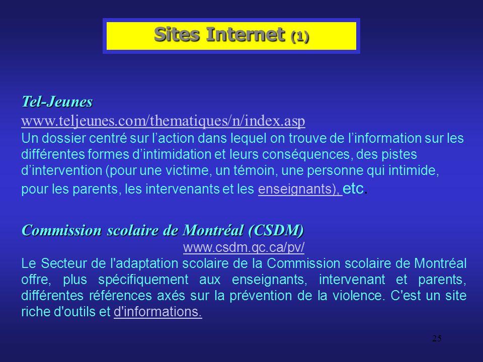Sites Internet (1) Tel-Jeunes www.teljeunes.com/thematiques/n/index.asp.