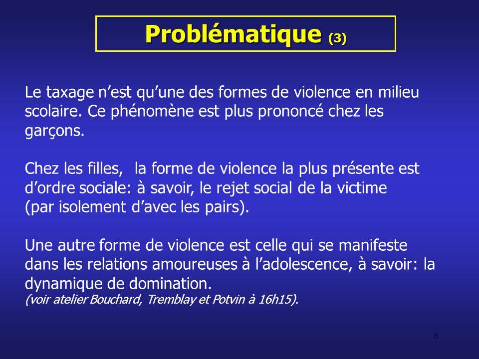 Problématique (3) Le taxage n'est qu'une des formes de violence en milieu scolaire. Ce phénomène est plus prononcé chez les garçons.