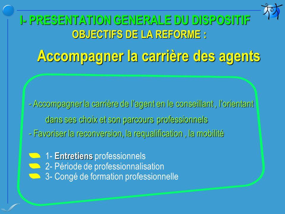 I- PRESENTATION GENERALE DU DISPOSITIF OBJECTIFS DE LA REFORME :