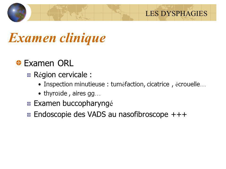 Examen clinique Examen ORL LES DYSPHAGIES Région cervicale :