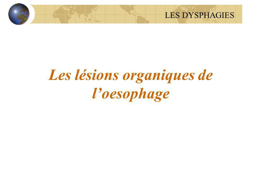 Les lésions organiques de l'oesophage