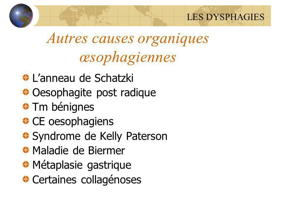 Autres causes organiques œsophagiennes