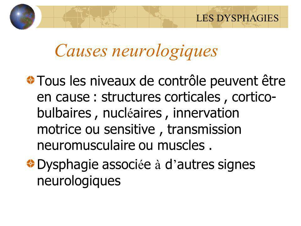 LES DYSPHAGIES Causes neurologiques.