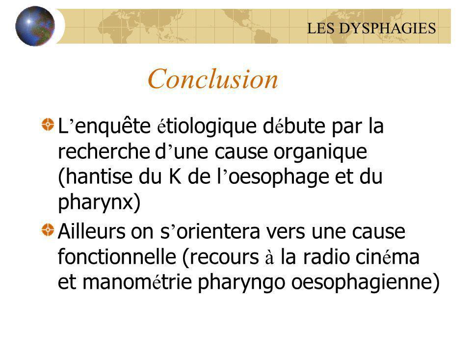 LES DYSPHAGIES Conclusion. L'enquête étiologique débute par la recherche d'une cause organique (hantise du K de l'oesophage et du pharynx)