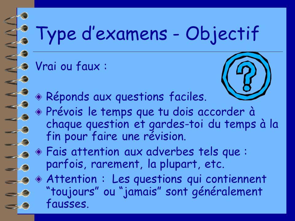 Type d'examens - Objectif