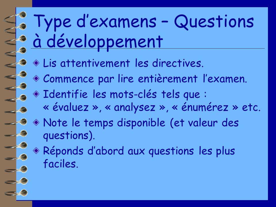 Type d'examens – Questions à développement