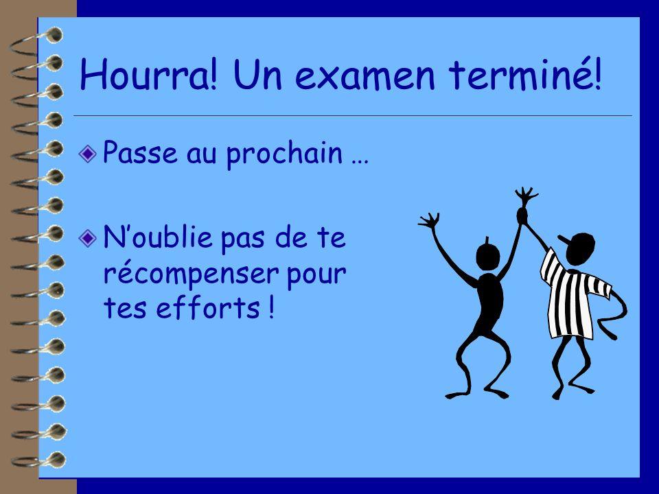 Hourra! Un examen terminé!