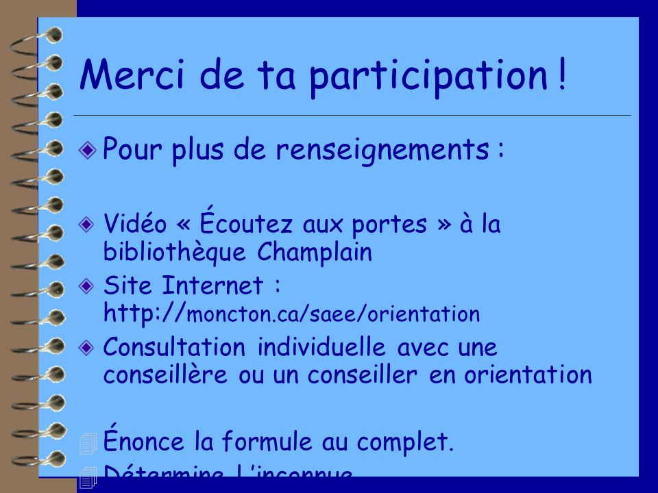 Merci de ta participation !