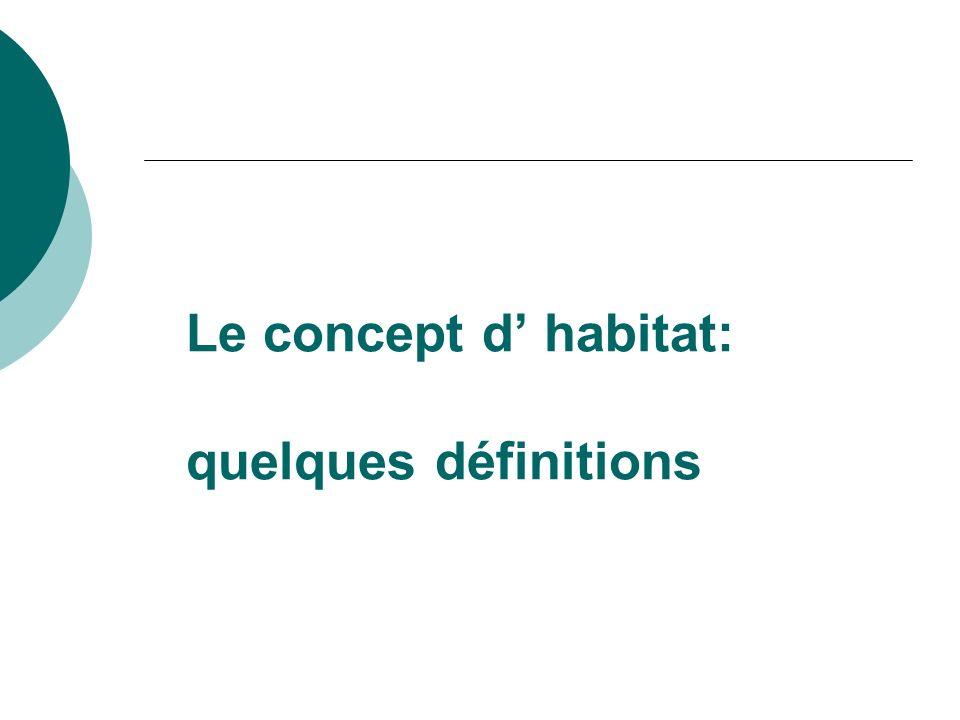 Le concept d' habitat: quelques définitions