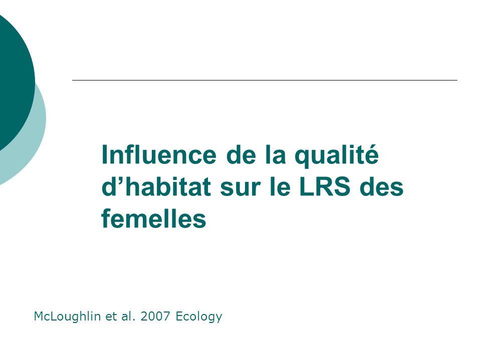 Influence de la qualité d'habitat sur le LRS des femelles