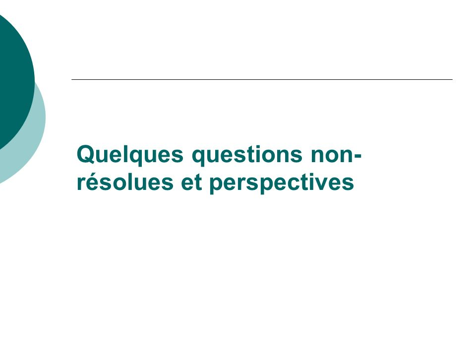 Quelques questions non-résolues et perspectives