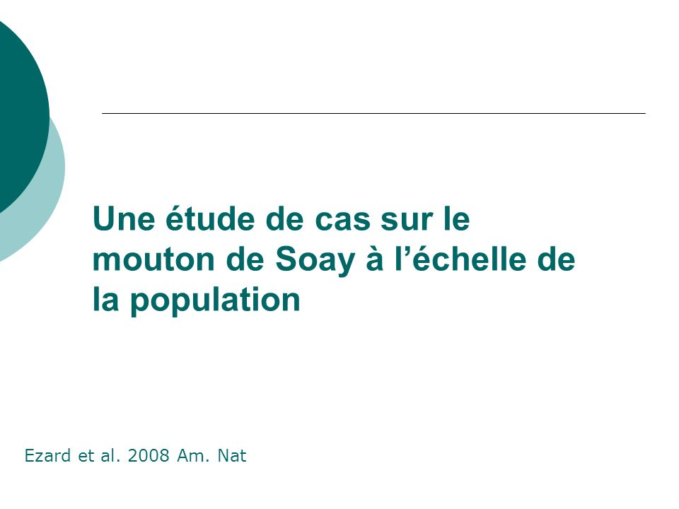 Une étude de cas sur le mouton de Soay à l'échelle de la population