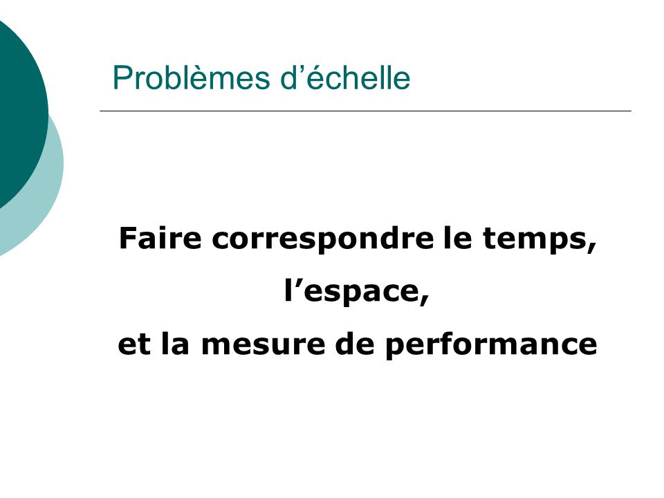 Faire correspondre le temps, et la mesure de performance