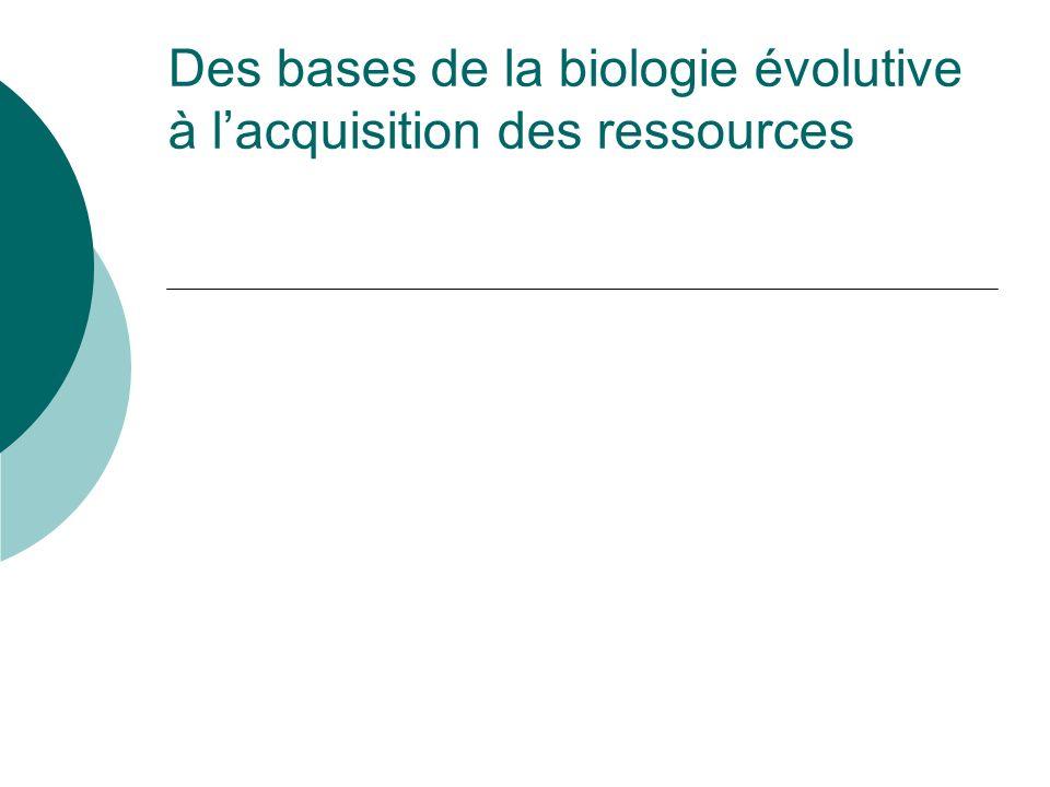 Des bases de la biologie évolutive à l'acquisition des ressources