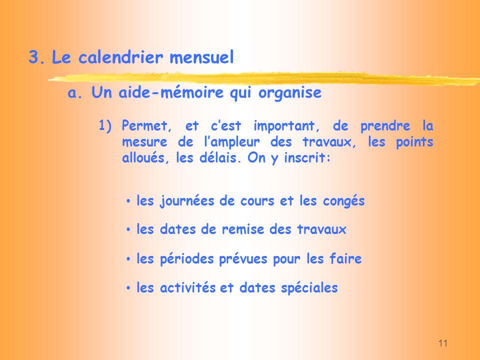 Le calendrier mensuel Un aide-mémoire qui organise