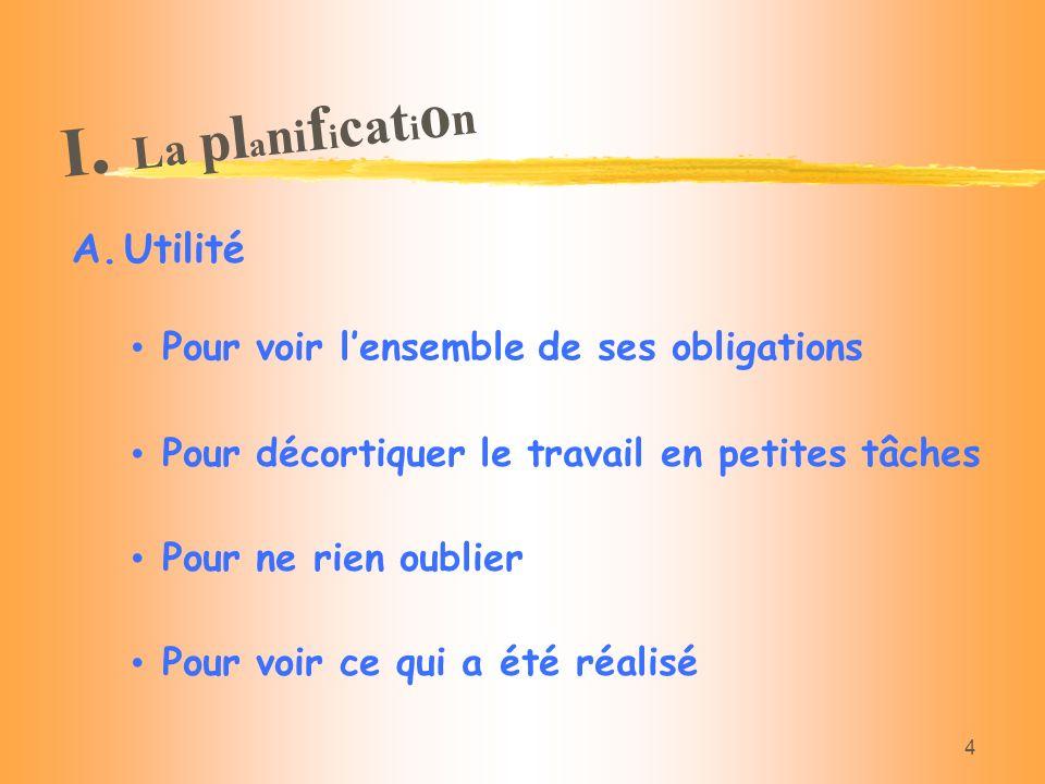 I. La planification Utilité Pour voir l'ensemble de ses obligations