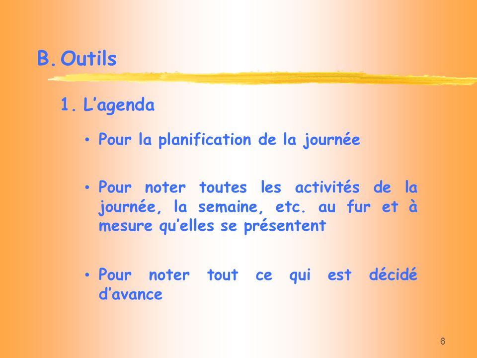B. Outils L'agenda Pour la planification de la journée